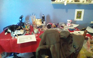 My messy writing desk...and my cat.
